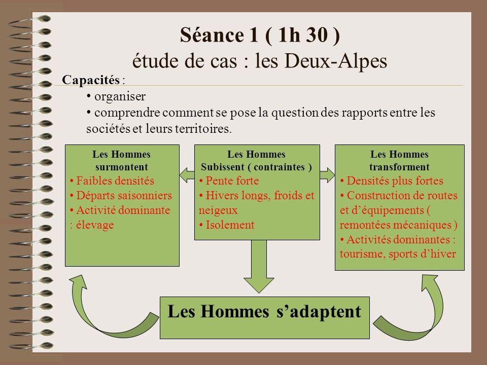 Séance 1 ( 1h 30 ) étude de cas : les Deux-Alpes Capacités : organiser comprendre comment se pose la question des rapports entre les sociétés et leurs