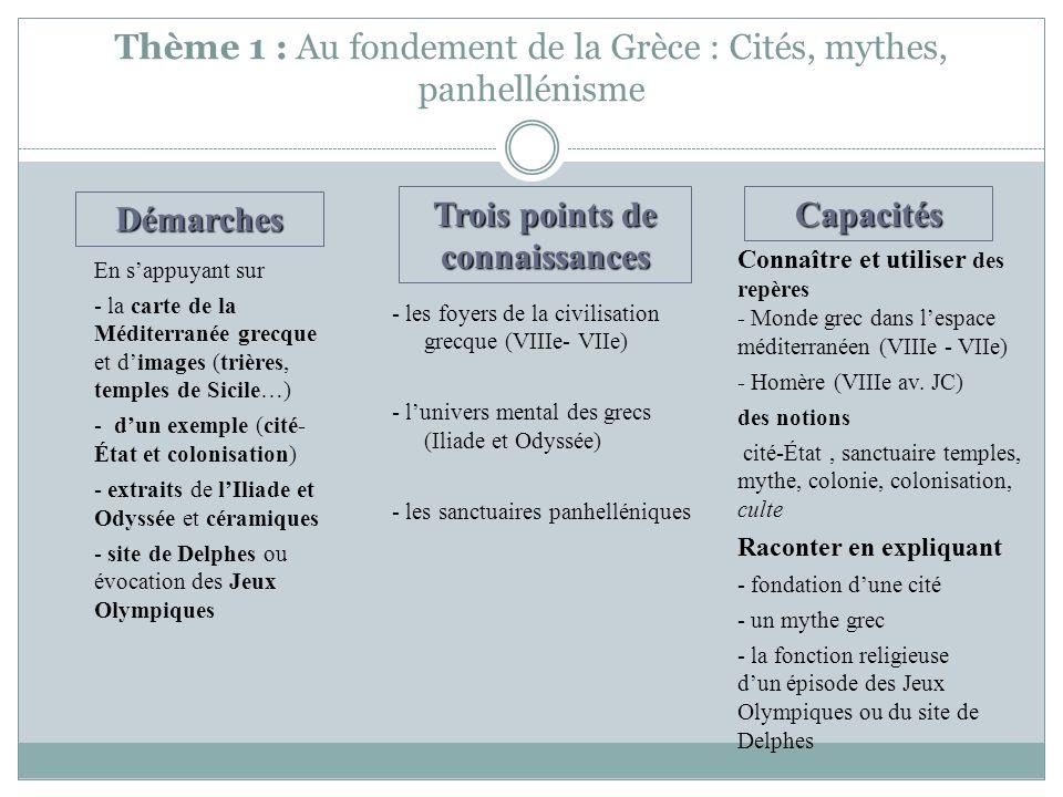 Thème 1 : Au fondement de la Grèce : Cités, mythes, panhellénisme - les foyers de la civilisation grecque (VIIIe- VIIe) - lunivers mental des grecs (I