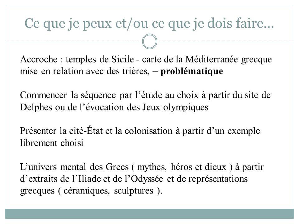 Ce que je peux et/ou ce que je dois faire… Accroche : temples de Sicile - carte de la Méditerranée grecque mise en relation avec des trières, = problé