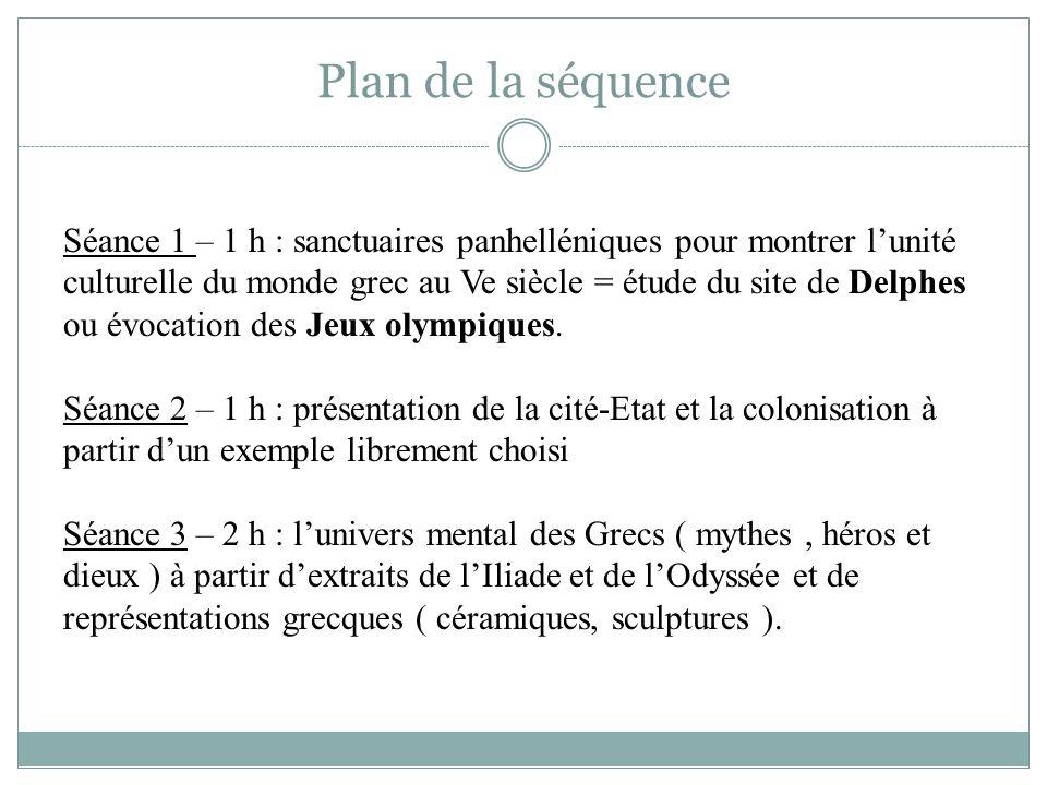 Plan de la séquence Séance 1 – 1 h : sanctuaires panhelléniques pour montrer lunité culturelle du monde grec au Ve siècle = étude du site de Delphes o
