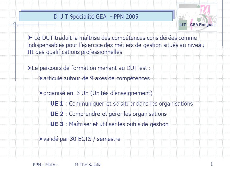 IUT – GEA Rangueil PPN - Math - M Thé Salafia 1 Le parcours de formation menant au DUT est : articulé autour de 9 axes de compétences organisé en 3 UE