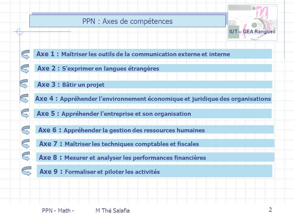 IUT – GEA Rangueil PPN - Math - M Thé Salafia 2 PPN : Axes de compétences Axe 9 : Formaliser et piloter les activités Axe 1 : Maîtriser les outils de