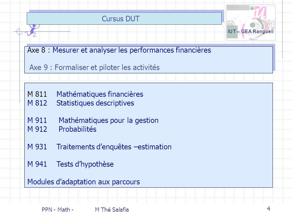 IUT – GEA Rangueil PPN - Math - M Thé Salafia 4 Axe 8 : Mesurer et analyser les performances financières Axe 9 : Formaliser et piloter les activités C