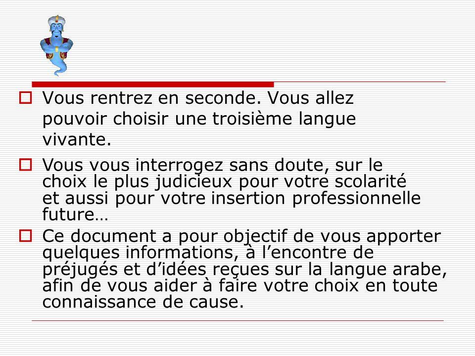 Vous rentrez en seconde. Vous allez pouvoir choisir une troisième langue vivante. Vous vous interrogez sans doute, sur le choix le plus judicieux pour