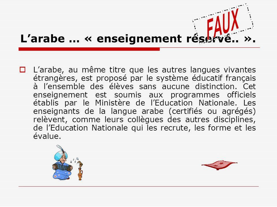 Larabe … « enseignement réservé.. ». Larabe, au même titre que les autres langues vivantes étrangères, est proposé par le système éducatif français à