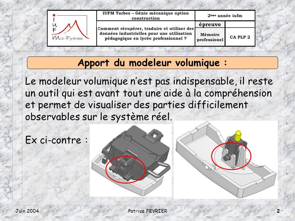 Juin 2004Patrice FEVRIER2 Le modeleur volumique nest pas indispensable, il reste un outil qui est avant tout une aide à la compréhension et permet de visualiser des parties difficilement observables sur le système réel.
