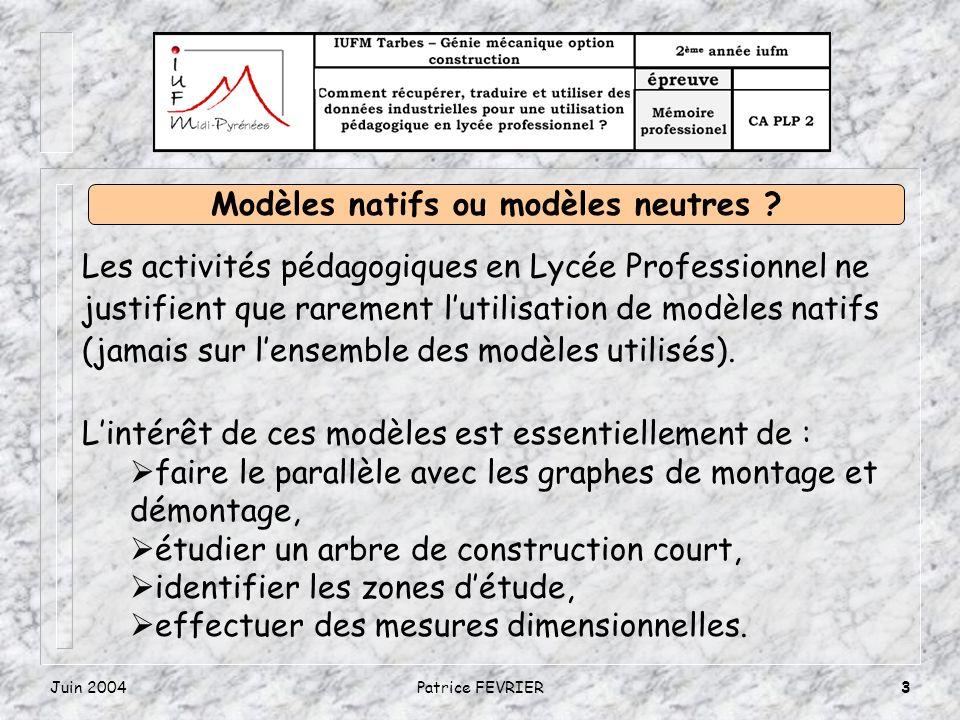 Juin 2004Patrice FEVRIER3 Les activités pédagogiques en Lycée Professionnel ne justifient que rarement lutilisation de modèles natifs (jamais sur lensemble des modèles utilisés).