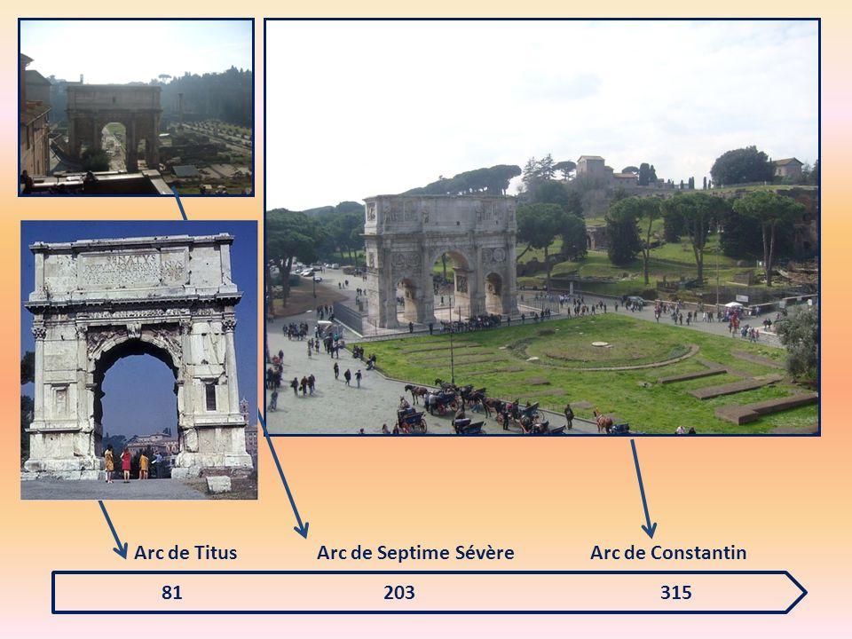 Frise constantinienne montrant Constantin en train de s adresser aux Romains sur le forum est Sur le côté est du monument, La frise montre Constantin et son armée entrer à Rome.