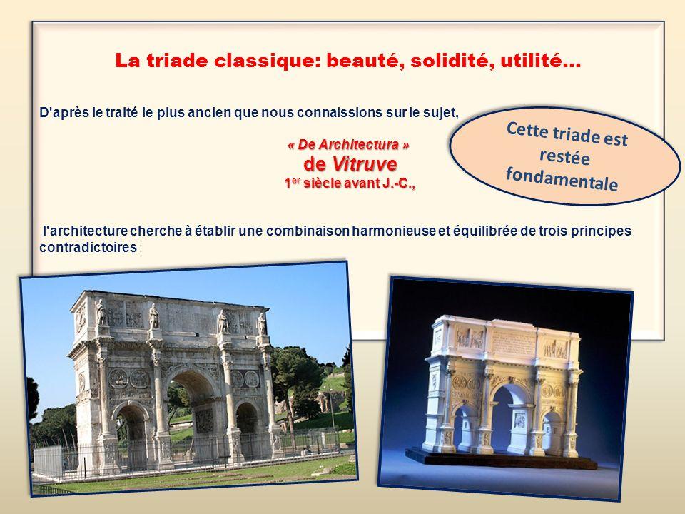 La triade classique: beauté, solidité, utilité... D'après le traité le plus ancien que nous connaissions sur le sujet, « De Architectura » de Vitruve