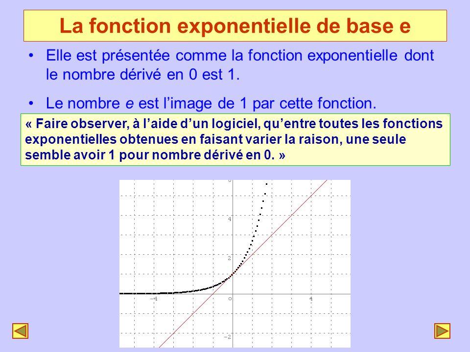 La fonction exponentielle de base e Elle est présentée comme la fonction exponentielle dont le nombre dérivé en 0 est 1. Le nombre e est limage de 1 p