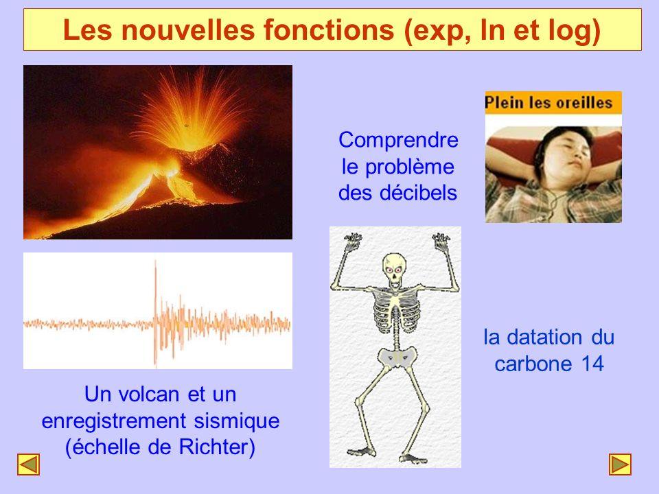 Les nouvelles fonctions (exp, ln et log) Un volcan et un enregistrement sismique (échelle de Richter) Comprendre le problème des décibels la datation