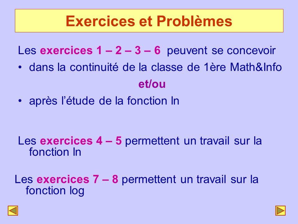 Exercices et Problèmes Les exercices 1 – 2 – 3 – 6 peuvent se concevoir dans la continuité de la classe de 1ère Math&Info et/ou après létude de la fon