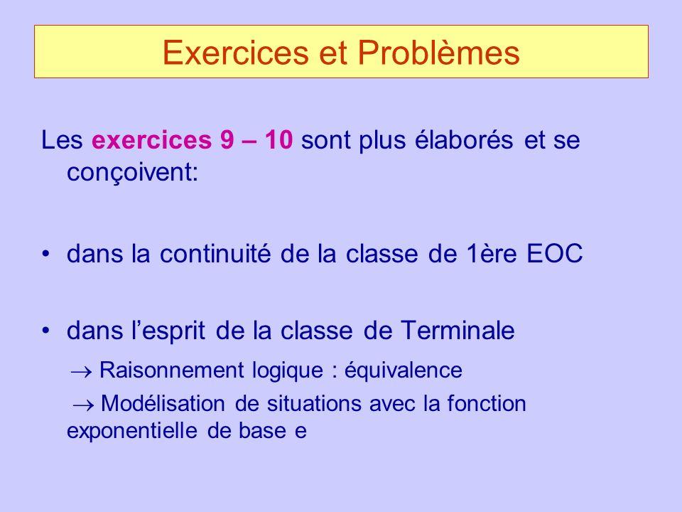 Exercices et Problèmes Les exercices 9 – 10 sont plus élaborés et se conçoivent: dans la continuité de la classe de 1ère EOC dans lesprit de la classe