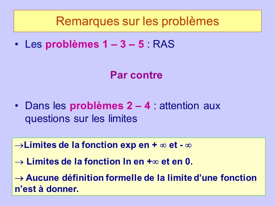 Remarques sur les problèmes Les problèmes 1 – 3 – 5 : RAS Par contre Dans les problèmes 2 – 4 : attention aux questions sur les limites Limites de la