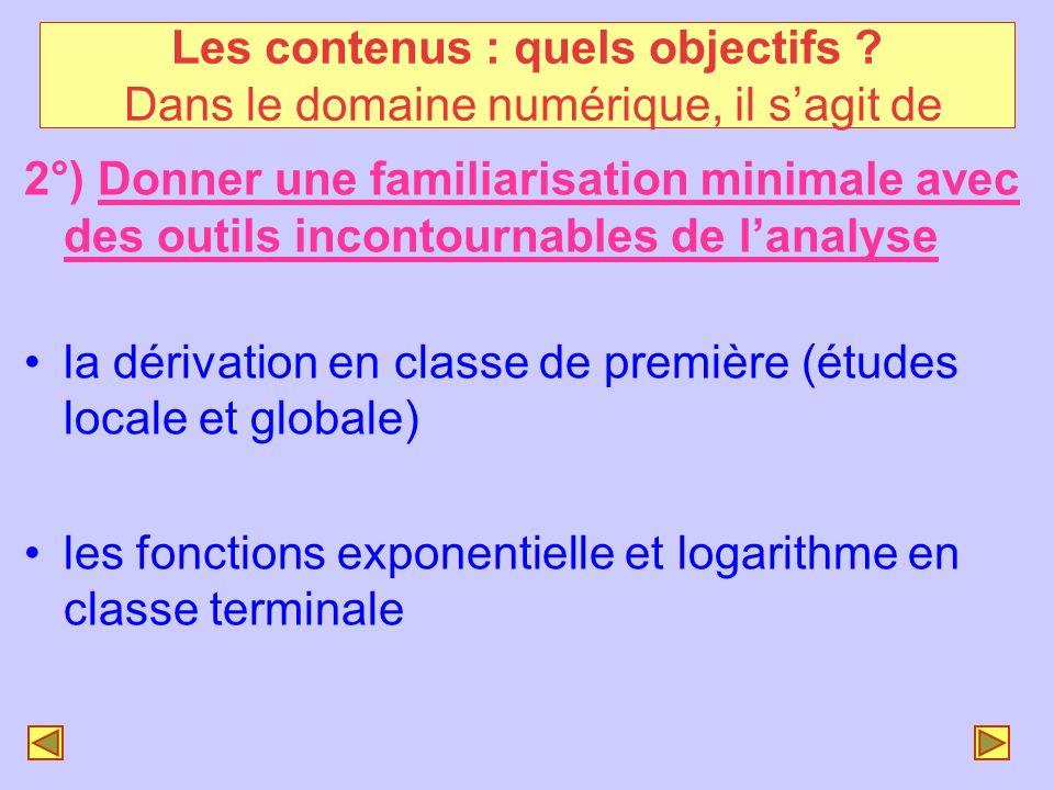 2°) Donner une familiarisation minimale avec des outils incontournables de lanalyse la dérivation en classe de première (études locale et globale) les