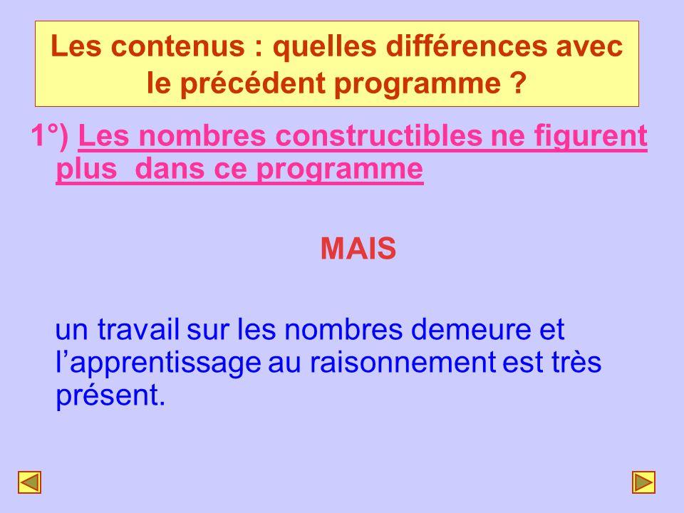 Les contenus : quelles différences avec le précédent programme ? 1°) Les nombres constructibles ne figurent plus dans ce programme MAIS un travail sur