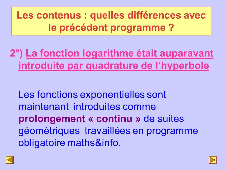 2°) La fonction logarithme était auparavant introduite par quadrature de lhyperbole Les fonctions exponentielles sont maintenant introduites comme pro