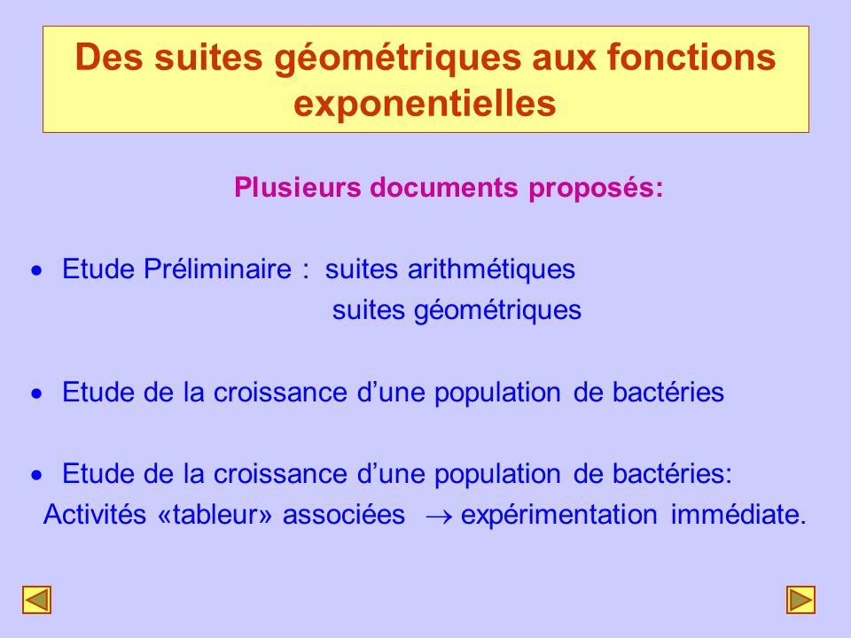 Plusieurs documents proposés: ·Etude Préliminaire : suites arithmétiques suites géométriques ·Etude de la croissance dune population de bactéries ·Etu