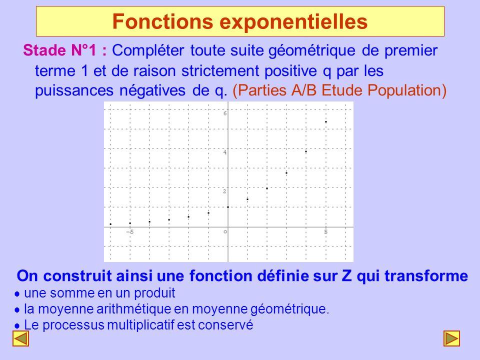 Fonctions exponentielles Stade N°1 : Compléter toute suite géométrique de premier terme 1 et de raison strictement positive q par les puissances négat