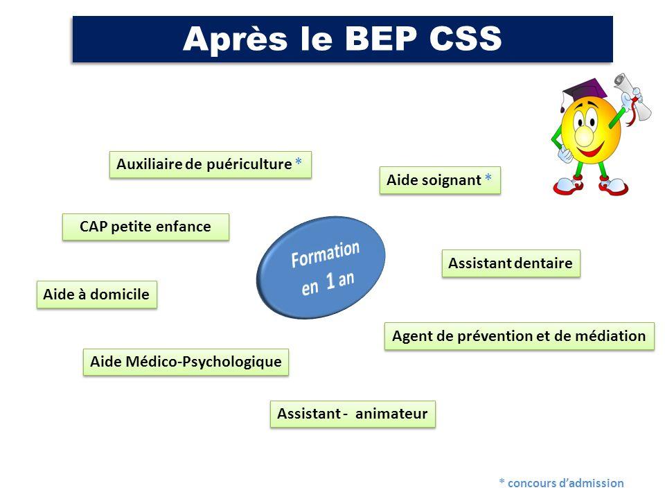Après le BEP CSS Aide soignant * Auxiliaire de puériculture * CAP petite enfance Aide Médico-Psychologique Assistant dentaire Aide à domicile Assistan