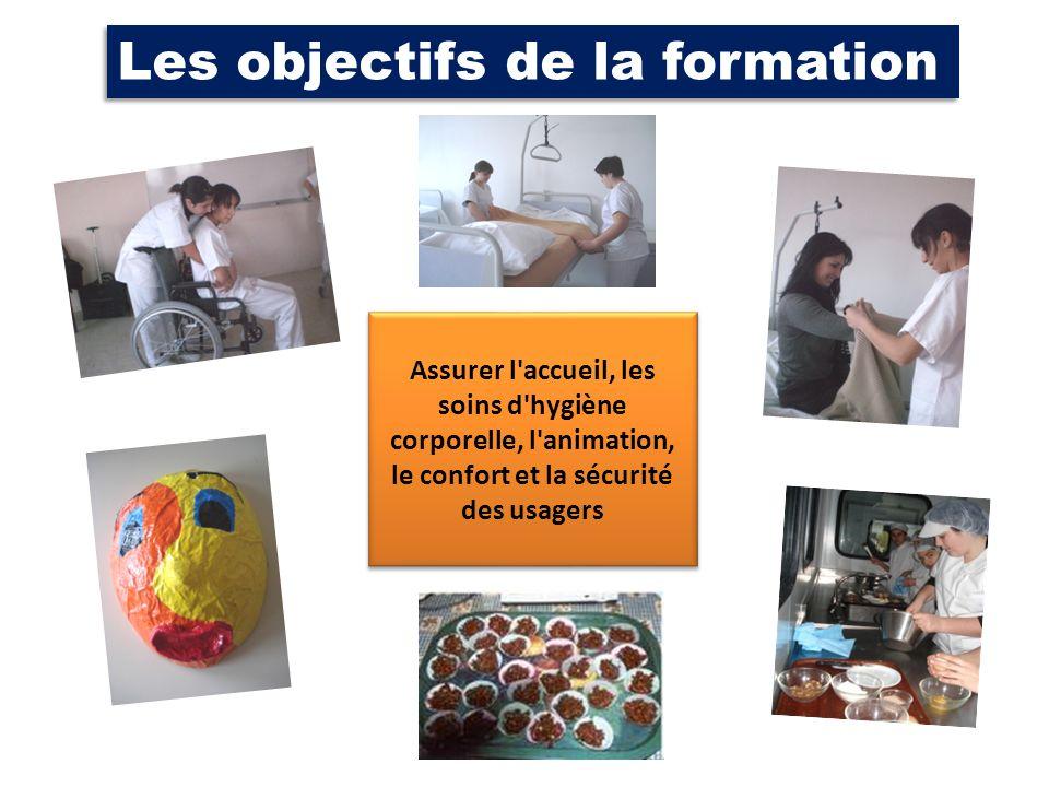 Les objectifs de la formation Assurer l'accueil, les soins d'hygiène corporelle, l'animation, le confort et la sécurité des usagers