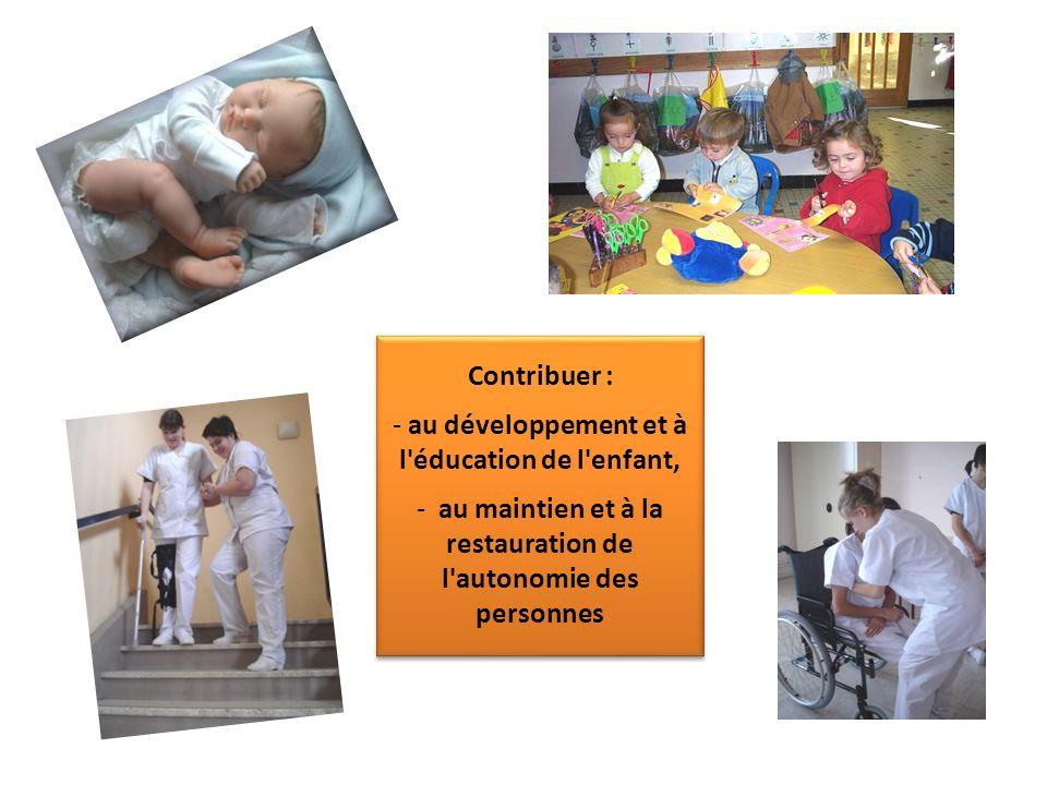 Contribuer : - au développement et à l'éducation de l'enfant, - au maintien et à la restauration de l'autonomie des personnes Contribuer : - au dévelo