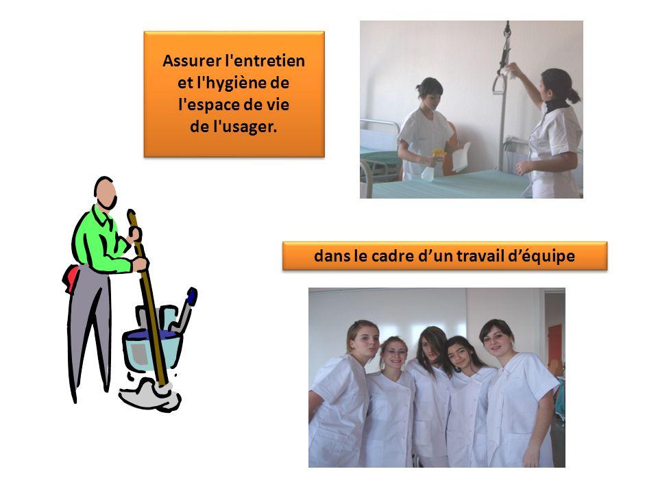 Assurer l'entretien et l'hygiène de l'espace de vie de l'usager. Assurer l'entretien et l'hygiène de l'espace de vie de l'usager. dans le cadre dun tr