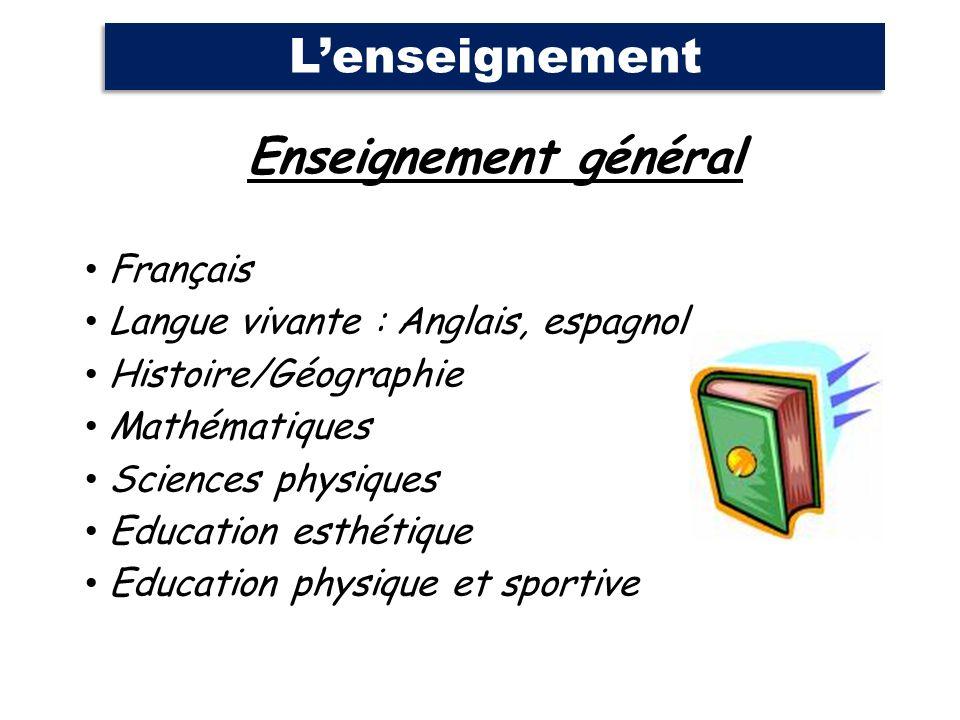 Enseignement général Français Langue vivante : Anglais, espagnol Histoire/Géographie Mathématiques Sciences physiques Education esthétique Education p