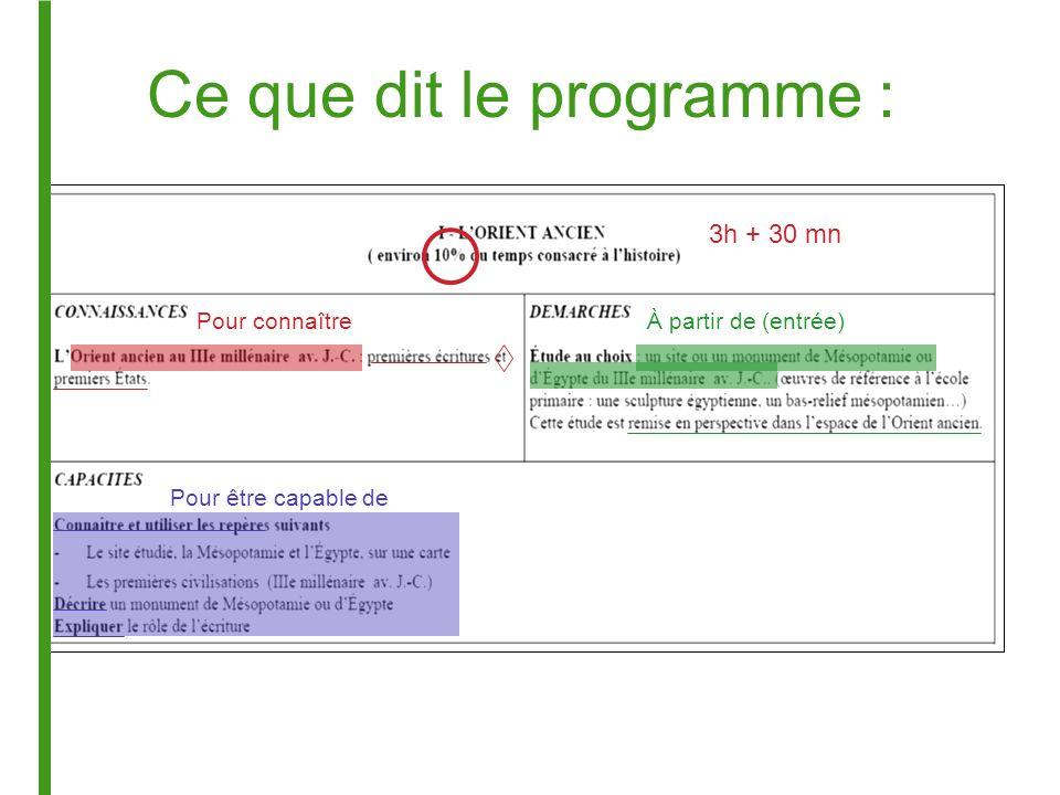 Ce que dit le programme : 3h + 30 mn À partir de (entrée)Pour connaître Pour être capable de