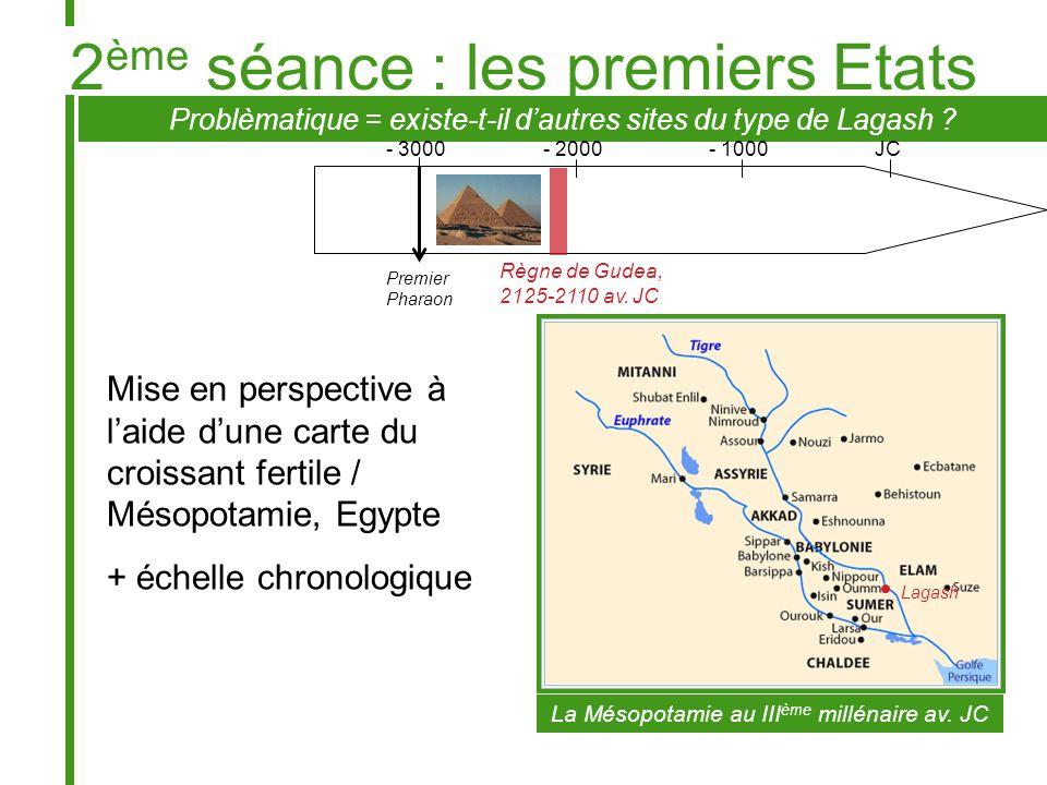 Problèmatique = existe-t-il dautres sites du type de Lagash ? Mise en perspective à laide dune carte du croissant fertile / Mésopotamie, Egypte + éche