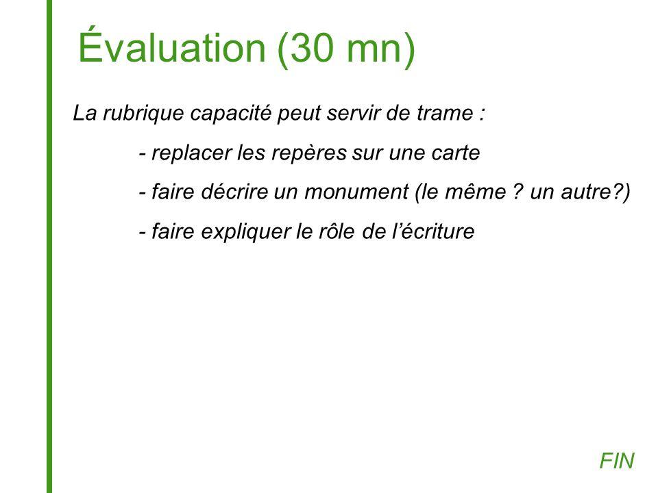 Évaluation (30 mn) La rubrique capacité peut servir de trame : - replacer les repères sur une carte - faire décrire un monument (le même ? un autre?)