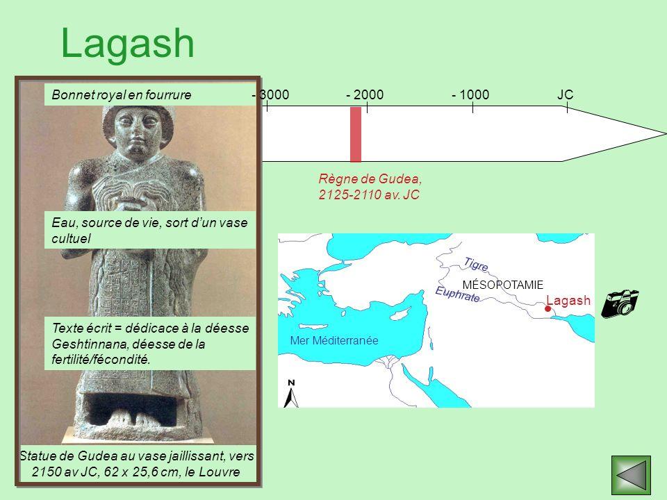 Lagash Statue de Gudea au vase jaillissant, vers 2150 av JC, 62 x 25,6 cm, le Louvre JC- 1000- 2000 Règne de Gudea, 2125-2110 av. JC Mer Méditerranée