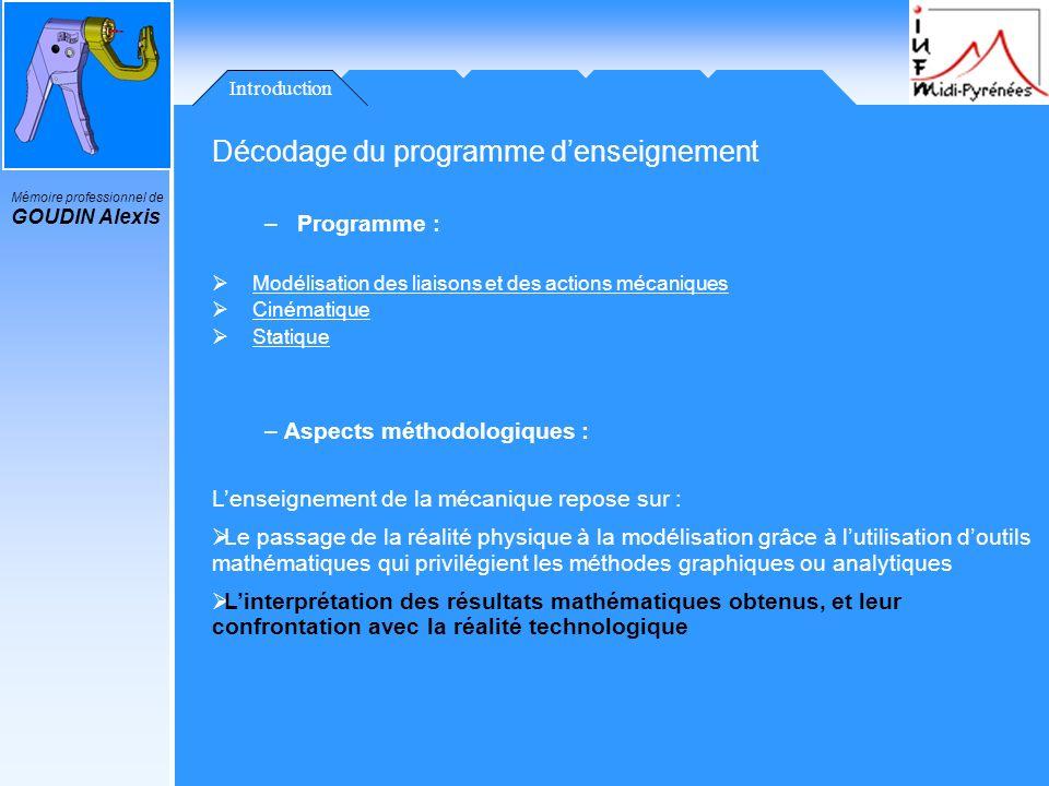 Mémoire professionnel de GOUDIN Alexis Introduction Décodage du programme denseignement –Programme : Modélisation des liaisons et des actions mécaniqu