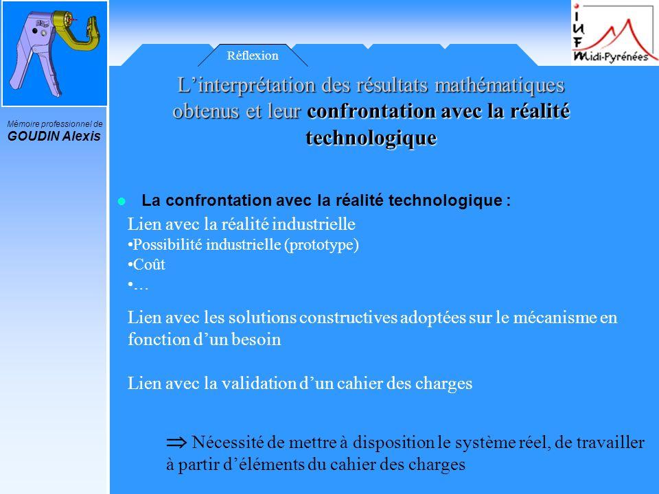 Mémoire professionnel de GOUDIN Alexis Réflexion Linterprétation des résultats mathématiques obtenus et leur confrontation avec la réalité technologiq