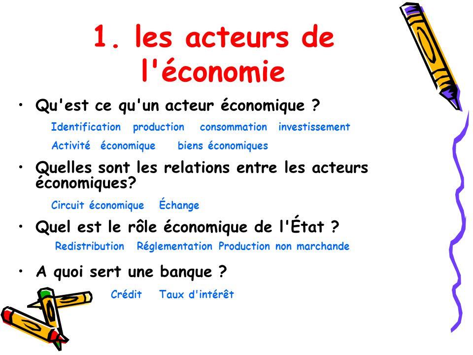 1. les acteurs de l'économie Qu'est ce qu'un acteur économique ? Activité économiquebiens économiques Identificationconsommationproductioninvestisseme
