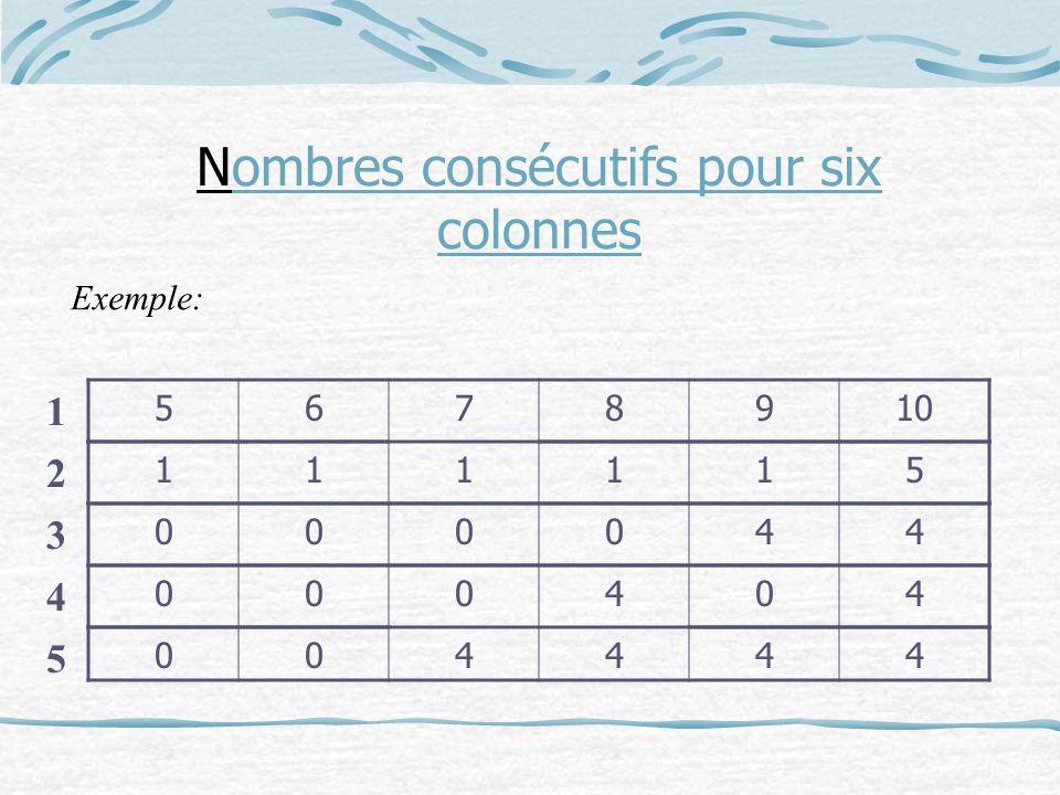 5678910 111115 000044 000404 004444 1 2 3 4 5 Nombres consécutifs pour six colonnes Exemple: