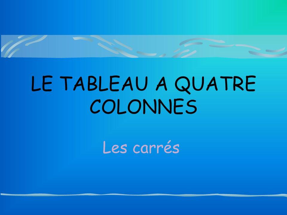 LE TABLEAU A QUATRE COLONNES Les carrés