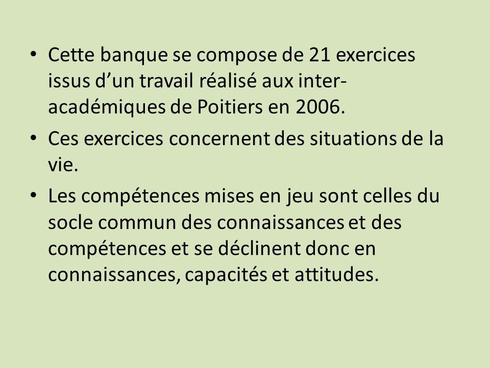 Cette banque se compose de 21 exercices issus dun travail réalisé aux inter- académiques de Poitiers en 2006. Ces exercices concernent des situations