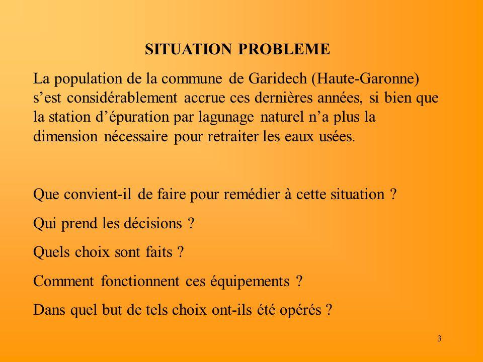 3 SITUATION PROBLEME La population de la commune de Garidech (Haute-Garonne) sest considérablement accrue ces dernières années, si bien que la station
