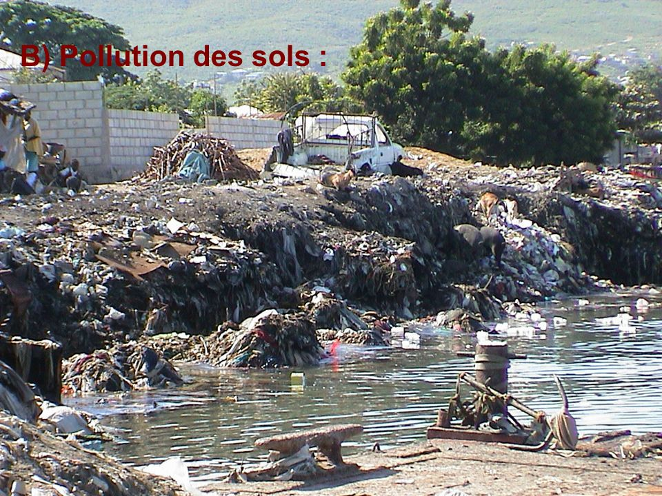 B) Pollution des sols :