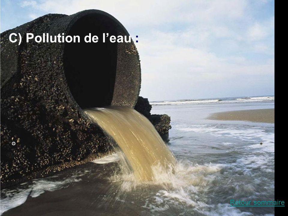 La pollution de leau C) Pollution de leau : Retour sommaire