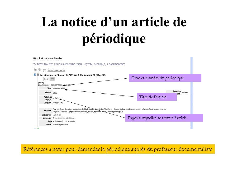 La notice dun article de périodique Titre et numéro du périodique Titre de larticle Pages auxquelles se trouve larticle Références à noter pour demand