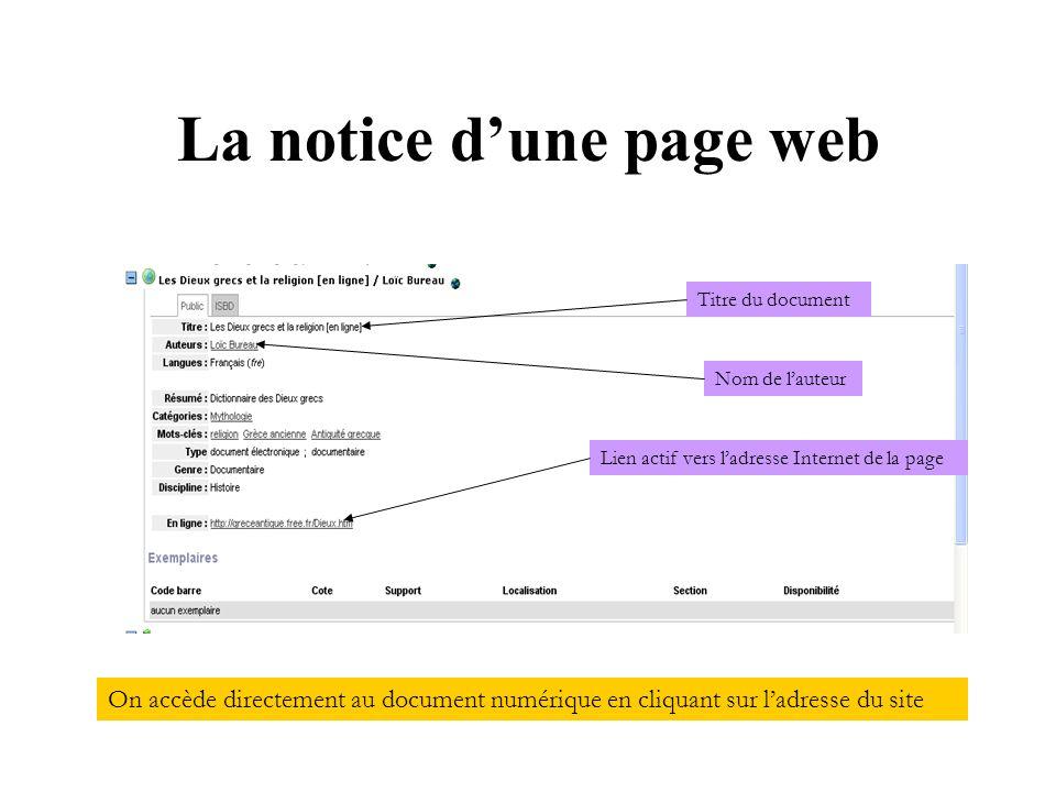 La notice dune page web On accède directement au document numérique en cliquant sur ladresse du site Titre du document Nom de lauteur Lien actif vers ladresse Internet de la page