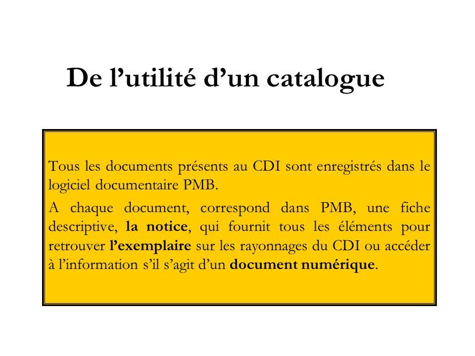 De lutilité dun catalogue Tous les documents présents au CDI sont enregistrés dans le logiciel documentaire PMB. A chaque document, correspond dans PM