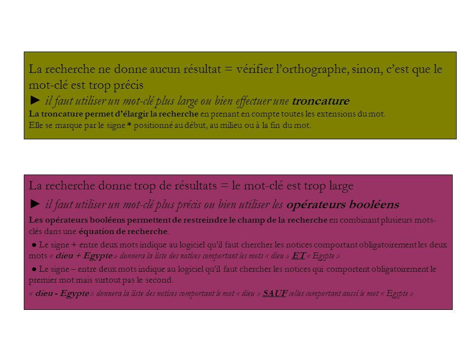 La liste des notices Le logo situé à gauche du titre indique de quel type de document il sagit Article de périodique Livre Site Internet