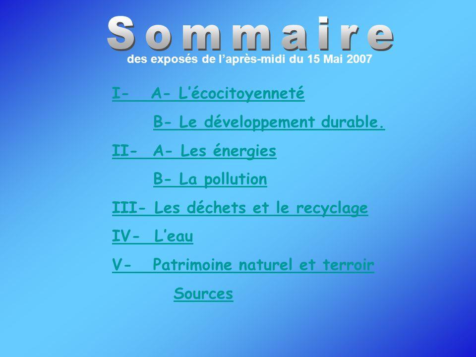 I- A- Lécocitoyenneté B- Le développement durable. II- A- Les énergies B- La pollution III- Les déchets et le recyclage IV- Leau V- Patrimoine naturel