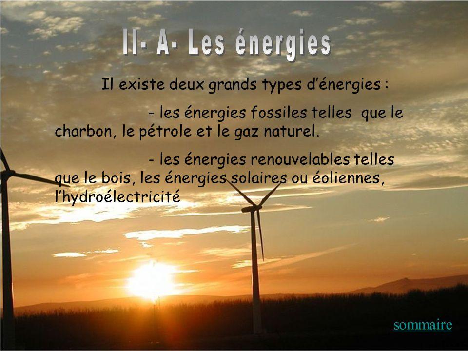 Il existe deux grands types dénergies : - les énergies fossiles telles que le charbon, le pétrole et le gaz naturel. - les énergies renouvelables tell
