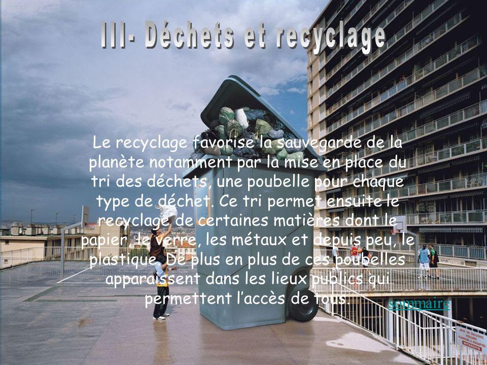 Le recyclage favorise la sauvegarde de la planète notamment par la mise en place du tri des déchets, une poubelle pour chaque type de déchet. Ce tri p