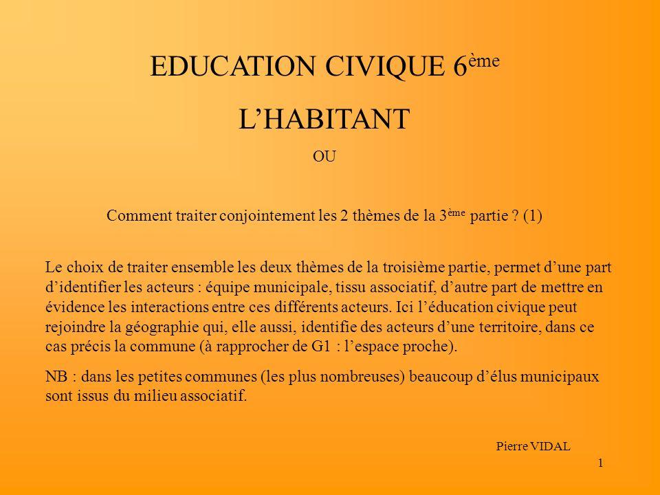 1 EDUCATION CIVIQUE 6 ème LHABITANT OU Comment traiter conjointement les 2 thèmes de la 3 ème partie ? (1) Pierre VIDAL Le choix de traiter ensemble l