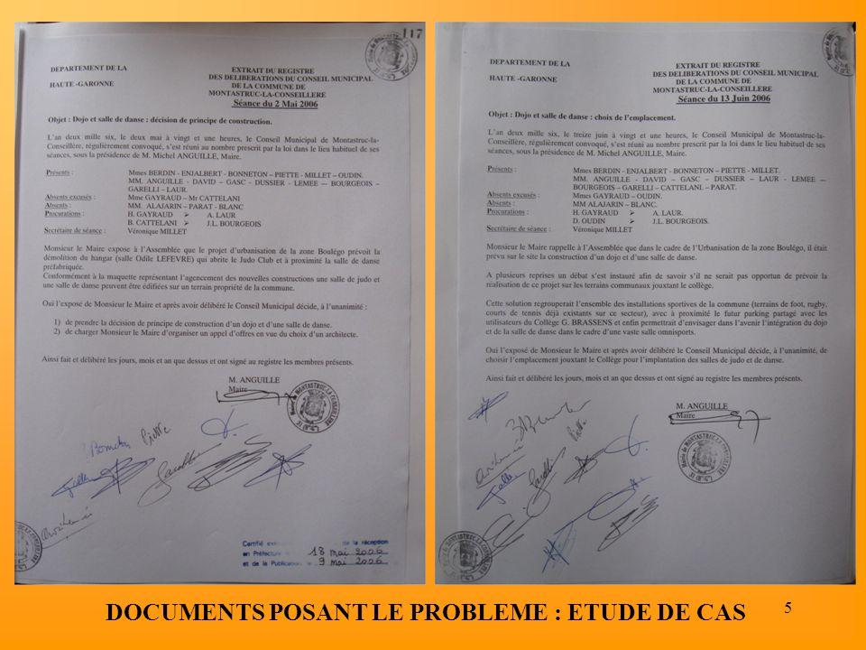 5 DOCUMENTS POSANT LE PROBLEME : ETUDE DE CAS